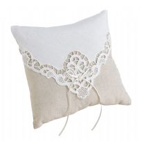 Country Lace Wedding Ring Cushion